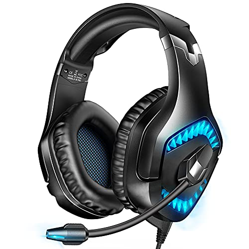 Gaming Headset, Xbox One Headset with Stereo Sound, Noise Cancelling Mic and LED Light, Over Ear Headset with Soft Memory Earmuffs for Laptop PC Mac Super Nintendo PS4 PS5 Xbox One, Blue