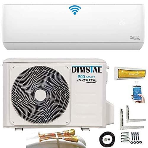 Quick-Connect INVERTER Split condizionatore d'aria con pompa di calore, climatizzatore ECO Smart WiFi/WLAN 3,2kW, set completo con 5 m di cavi in rame con funzione di riscaldamento