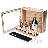 Barbox Mixology Kit & Bartending Kit With Stand - Bar Set Stylish Rustic 17-piece Stainless Steel Bar Tools Cocktail Set, Glass Rack, Elegant Home Bar Decor, Mini Bars For Home - Perfect Home Bar Kit