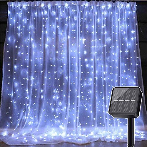 Guirnalda de luces LED de 3 x 3 m, 300 ledes, para ventana, para exterior, para Navidad, vacaciones, iluminación