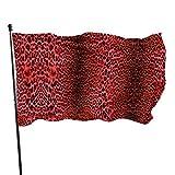 Garten Banner,Hanging Flag Dekor,Fahne,Flagge,Sexy Rose Red Leopard Print Muster Polyester Flagge - Lebendige Farbe Und Uv-Lichtechtheit Für Den Außen-/Innenbereich 150X90 cm
