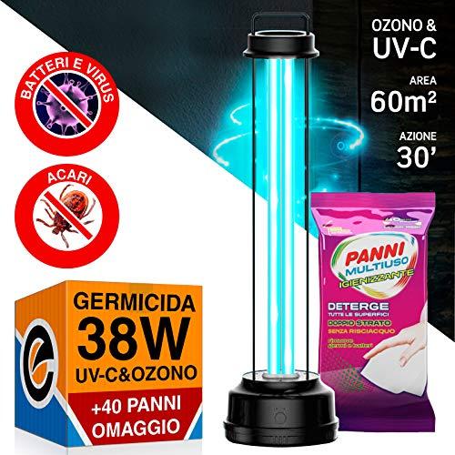 1x Lampada Doppia Tecnologia Raggi UV-C Ozono 38W Germicida Sanificazione Ambienti da Batteri Acari Virus + 40 panni Igienizzanti superifici in Omaggio