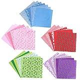 TOYANDONA 5 paquetes de tela impresa de algodón Tejido liso Tela artesanal hecha a mano Colorido paquete Patchwork Cuadrados de edredones precortados para DIY Scrapbooking de costura