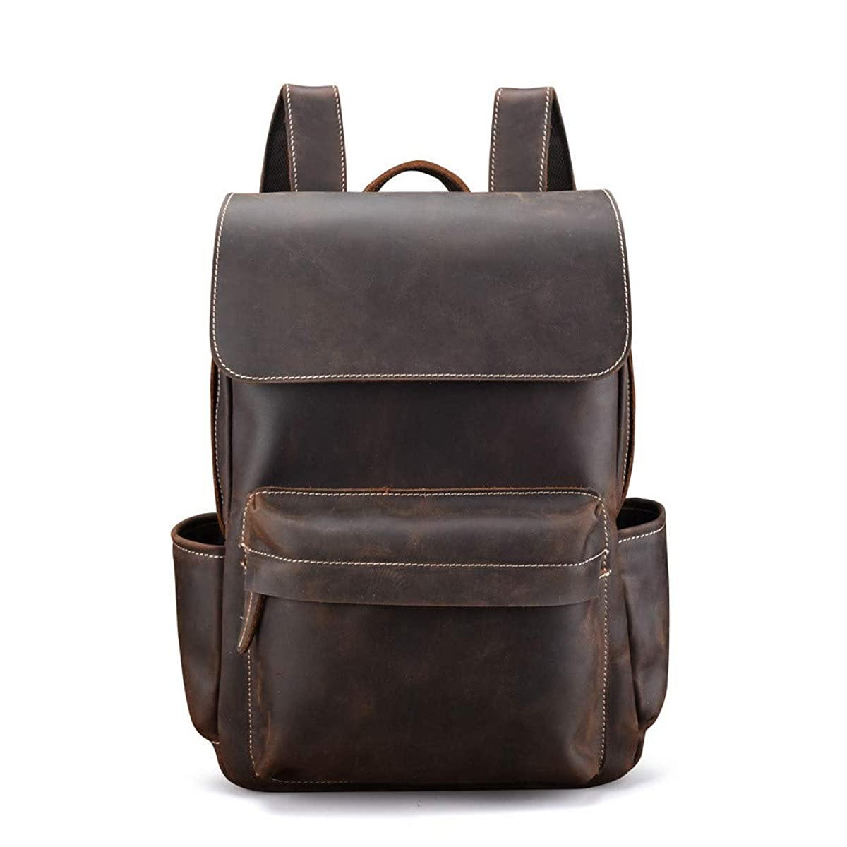JFGUOYA Men's Backpack Genuine Leather Travel Bag Extra Capacity Casual Daypacks - Leather Slim Dual Compartment Laptop Business Backpack,Brown