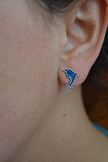 Boucles d'oreilles en argent dauphin bleu