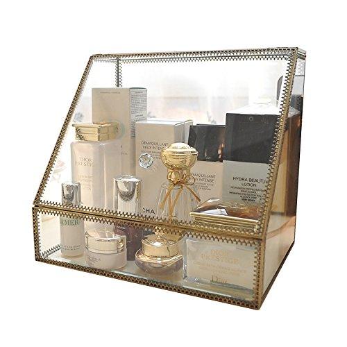 Boîte à bijoux et cosmétiques antique en verre transparent et laiton, organisateur à 6 tiroirs avec 1 grand espace trapèze