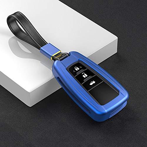 YJLOVK Para aleación de Aluminio Car Key Holder Cover Case Shell Chain para Toyota Camry Corolla C-HR CHR Prado 2018 2/3 Botones Protección de Llaves, Azul