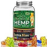 Wellution Hemp Gummies Extra Max x60 High Potency - Fruity Gummy Bear with Hemp Oil. Natural Hemp Candy Supplements for Anxiety, Stress & Inflammation - Promotes Sleep & Calm Mood