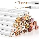24-Color Art Markers, Ohuhu Skin Tones, Dual Tip, Brush & Chisel, Sketch Marker