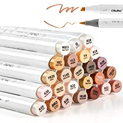 24 GORGEOUS, SKIN-TONE COLORS + 1 COLORLESS ALCOHOL MARKER BLENDER: Hard to draw flesh, skin, or hair shades with ordinary markers? Now you can get the 24 skin-tone markers at Ohuhu to better your project with a higher level. With these highly pigmen...