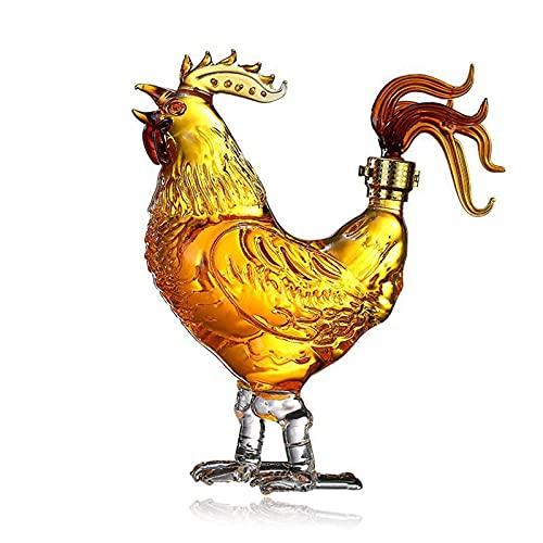 Conjunto de decantadores de whisky, fabricante de vinos de vidrio con forma de pollo animal, con pies de pollo estables y corcho de bloqueo, para vino blanco Vodka o dispensador de vinos, 100 0ML / 33