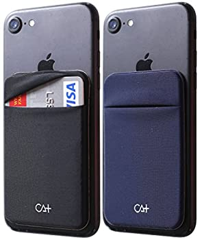 [Two] Stretch Card Sleeves Stick On Wallet for Cell Phone Card Holder Adhesive Sticker ID Credit Card Holder for Back of Phone  Black + Navy