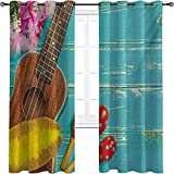 Music 90%-99% Blackout Lining Curtain, Ukulele with Hawaii Style Background Wooden Classical Vacation Stylized, Full Shading Treatment Kitchen Insulation Curtain W52 x L84 Inch Aqua Yellow Red Brown