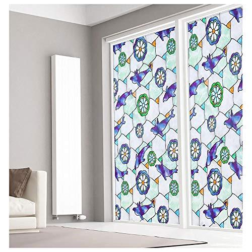 Bloeding raamfolie, zonwering, hittebescherming, zelfklevend, decoratieve folie, raamfolie, zelfklevend, statische raamfolie, raamfolie, plakfolie 200×50cm/78×19in blauw