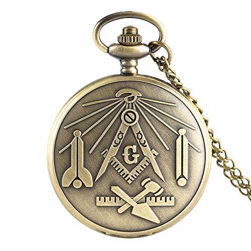 J-Love Reloj de Bolsillo de Cuarzo con Tema de masonería, Reloj Colgante de Recuerdo de albañil, Regalos para Hombres y Mujeres con Cadena de Collar de Bronce