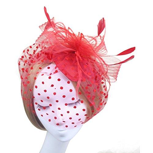 Beaupretty Braut-Haarspange mit Federn, Vintage-Stil, Netz-Schleier, Brauthut für Hochzeit, Party, Abschlussball, Rot