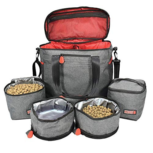 KONG Pet Travel Bag (5-Piece) & Washable Tote Organizer - Food Storage Containers & Collapsible Bowls, Multi-Functional Pockets - Great Weekend Pet Travel Set for Dog