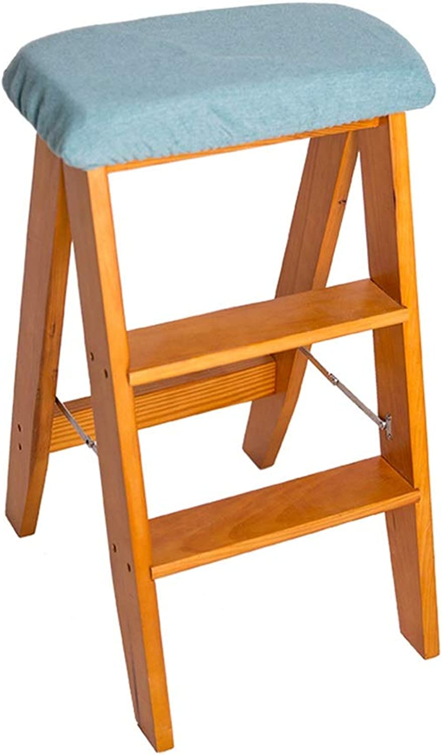 Stool Step Stool Ladder Multi-Function Folding Ladder Three-Step Portable Step Stool Home Study Folding Ladder Pine Creative Stool (color   orange, Size   38  34  61CM)