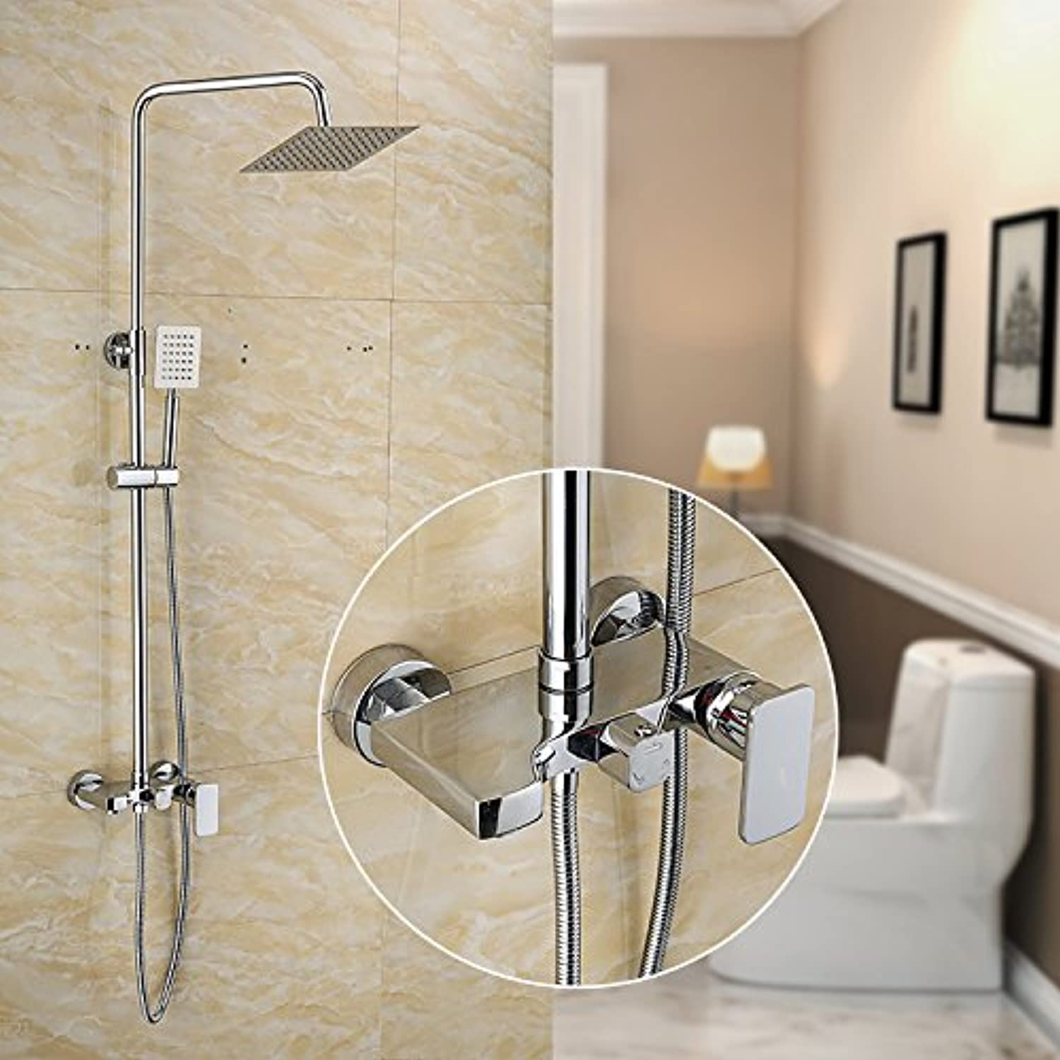 GM Copper plating shower shower faucet set small plane three shower shower lifting rod
