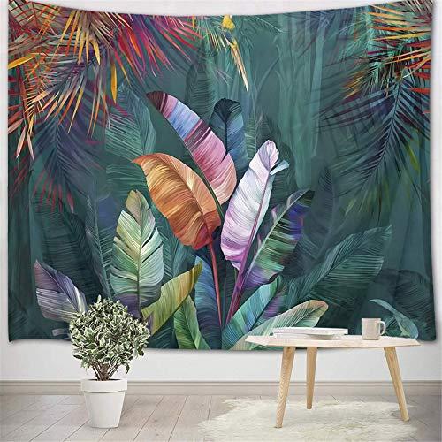 Tapiz de bosque tropical, hoja de palma y planta verde, para colgar en la pared para dormitorio, decoración de pared, 149 x 99 cm