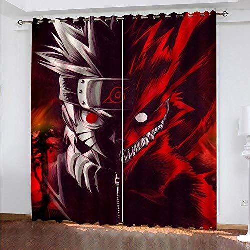 Meer 2er-Set Verdunkelungs Vorhang,Naruto Japan Anime Kinder Gardinen Ösen Gardine Thermo Polyester Schlafzimmer Vorhänge Dekoratives Muster Européen 214 x 183 cm (HxB)