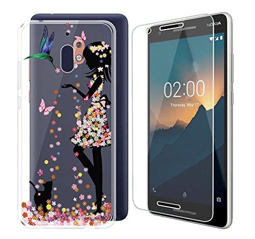 ZXLZKQ Custodia per Nokia2.1 Cover Cover Rosa Ragazza Gatto Trasparente TPU + Pellicola Vetro Temperato Silicone Flessibile Protezione Custodia Bumper Case per Nokia2.1