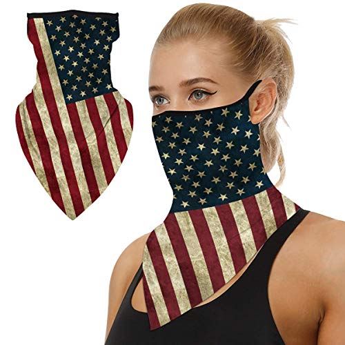 TJOY Bandana Face Mask With Ear Loop Face Mask American Flag, Winter Running Mask Winter Neck Gaiters Mission Cooling Neck Gaiter Triangle Face Scarf Earloop Rave Balaclava