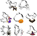 Halloween Cookie Cutters - Joyoldelf 8 Piece Biscuit Cookie Cutter - Pumpkin, Bat, Ghost, Cat, Witch, Spider, Skull, Witch Hat Stainless Steel Party Decorations