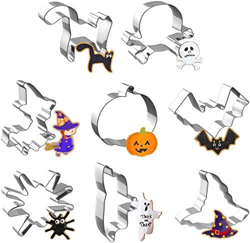 joyoldelf Formine Biscotti Halloween Set di 8 Stampi Biscotti Halloween, Acciaio Inox, per Biscotti Frutta Torta Festa Halloween (Smeraldo)