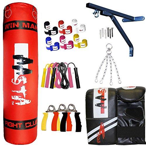 Aasta 3Ft, 4ft, 5ft schwere gefüllt Boxsack Handschuhe Wandhalterung Kette, Handbandage, Springseil, Set MMA Pad UFC Kick Kampf rot rot 152 cm