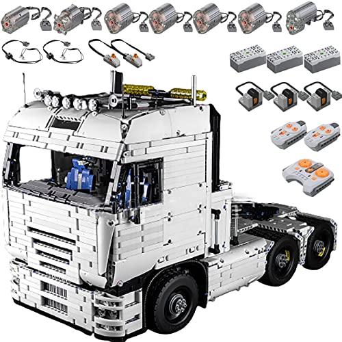 Technology Truck Tractor Building Blocks, 4511 Parts Technology Modelo Cabeza Remolque con Motores y Equipo Tecnología Grupo Luces LED para Camión de Remolque Compatible con Lego B