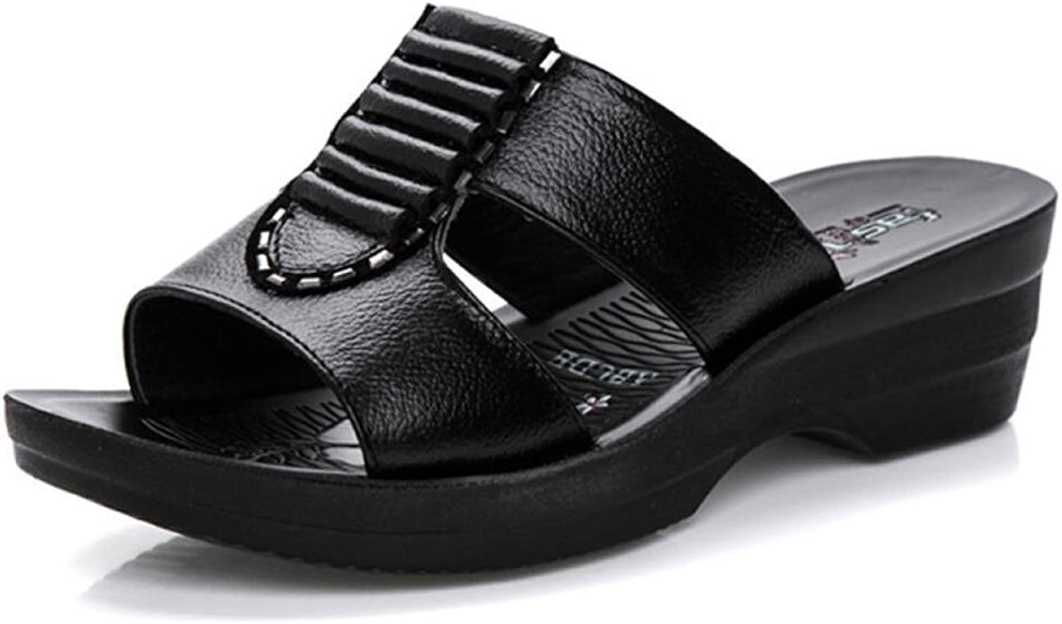 Duberess Women's Wide Fitting Casual Comfortable Real Leather Wedged Slides Sandals Ladies Summer shoes
