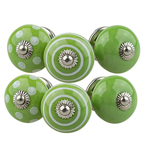 JK 6er 068GN classic grün Möbelknopf Set Jay Knopf ® Möbelknauf Set Möbelknöpfe Set, Möbelgriff Set, Shabby Chic Vintage Retro Keramik Porzellan