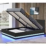 ArtLife LED Polsterbett Toulouse 140 × 200 cm mit Matratze, Lattenrost & Bettkasten - Kunstleder Bezug & Holz Gestell – schwarz – Bett Jugendbett - 3