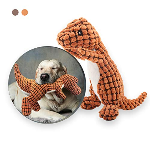 Andiker Stuffed Dog Toy Plush Dog Toy Corduroy Durable Interactive Toy Includes Plastic Noise-Making Squeaker Dinosaur Shape Plush Toy (Orange)