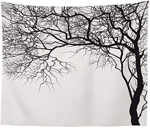 Yijiujiu Tapiz Árbol Negro Hippie Bohemio Psicodélico Indio Espiritual Tela de impresión Vintage Arte de Gran tamaño Tela Decorativa para Sala de Estar Dormitorio 150 × 130 Cm
