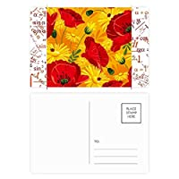 キャンバスの花の植物画ヒナゲシ 公式ポストカードセットサンクスカード郵送側20個
