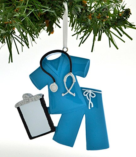 Grantwood Technology Personalized Christmas Ornament Scrubs Doctor Nurse Blue/Personalized by...