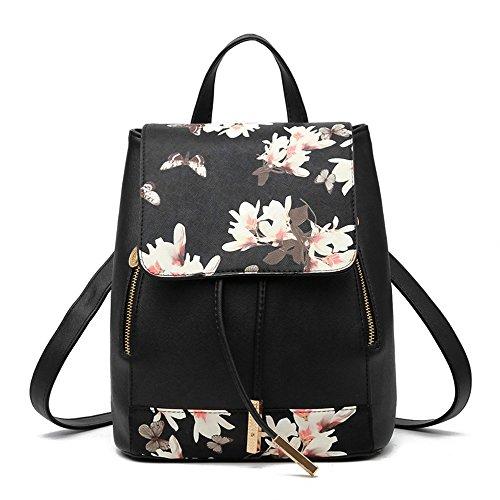 Huabor Womens Bag Backpack Purse PU Leather Bags Fashion Casual Rucksack Satchel and handbag (Blossom black)