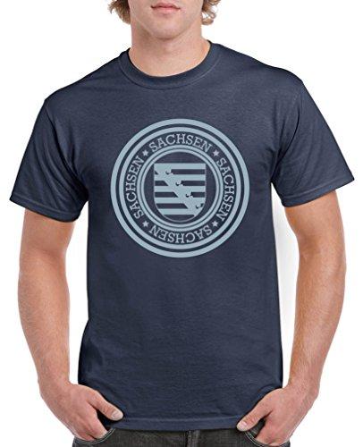 Comedy Shirts - Stadtwappen Sachsen - Herren T-Shirt - Navy/Eisblau Gr. XXL