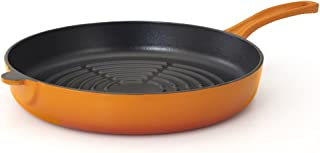 Essenso Chambery Enameled Orange Cast Iron Round Skillet with Grill Ridges 11 Inches