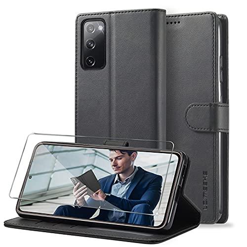 Handyhülle für Samsung Galaxy S20 FE Hülle Leder Klappbar mit Panzerglas Schutzfolie, [Premium Leder Schutzhülle] [Wallet] [Kartenfach] [Standfunktion] Cover Flip Hülle für Samsung S20 FE Klapphülle