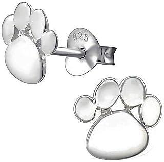 Laimons Kids Bijou pour enfant boucles doreilles pour enfant patte de chien brillant zircone argent sterling 925