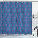 ABAKUHAUS Anker Duschvorhang, Rosa Icons auf Blue Dots, Waschbar & Leicht zu pflegen mit 12 Haken Hochwertiger Druck Farbfest Langhaltig, 175 x 200 cm, Magenta Violett Blau