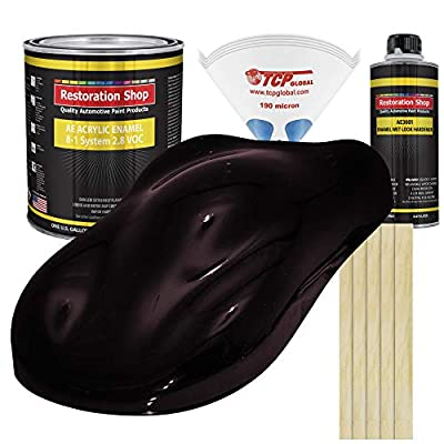 Restoration Shop - Black Cherry Pearl Acrylic Enamel Auto Paint - Complete Gallon Paint Kit - Professional Single Stage High Gloss Automotive, Car, Truck, Equipment Coating, 8:1 Mix Ratio, 2.8 VOC