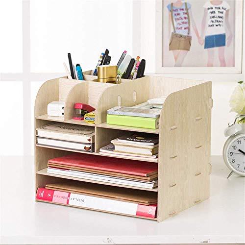 Organizador de escritorio para el hogar, multifuncional, de madera, estante de información, estante grande para escritorio, cajón, oficina y escuela (color: azul, tamaño: 32 x 25 x 27,5 cm) escritorio