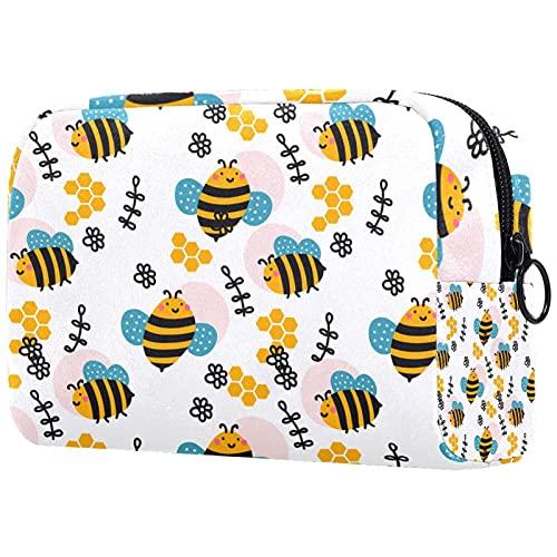 Linda bolsa de maquillaje de viaje, bolsa cosmética portátil, organizador de maquillaje para mujeres y niñas (patrón de hierbas florales), Multicolor6, 18.5x7.5x13cm/7.3x3x5.1in, moderno