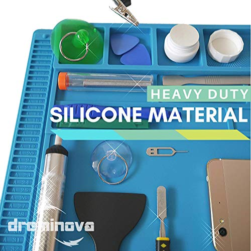 DREMINOVA Professional Large soldering Mat (55x35cm) Repair Silicone Magnetic Work Mat For Electronics, Computer, Cell Phone DIY, Welding Heat Resistant Anti-Static Repair Mat For Solder Iron Station