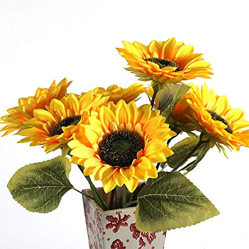 Kunstzijde Zonnebloem 7-stengels Bloemen Voor Home Decoratie Bruiloft Keuken Kantoor Vensterbank Lente Decoraties, Bruid Holding Bloemen Bloemen Bloemen Bloemen Decors(Geel)