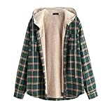 ZAFUL Men's Plaid Flannel Lined Hooded Jacket Long Sleeve Unisex Fuzzy Shirt Coat Tops Medium Sea Green S